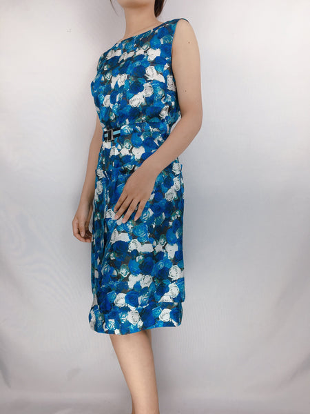 PETER SOM | US6  Blue Sleeveless Floral Stretch Dress
