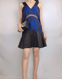 THREE FLOOR | Mini Shining Navy Blue Dress With Flower Printed