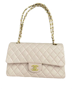 Chanel |  Beige Clair Quilted Lambskin Leather Classic Medium Double Flap Bag