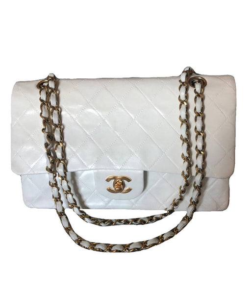 Chanel | White 10'' Classic Medium Flap 24k GHW