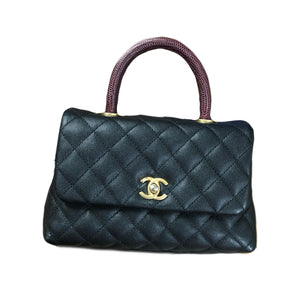 Chanel Coco Lizard Handle Caviar