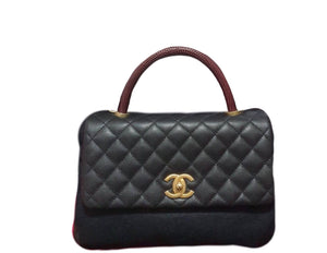 Chanel Coco Handle Lizard Medium Caviar Gold Hardware
