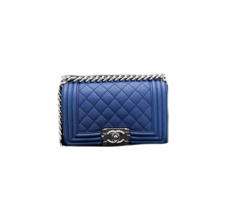 Chanel Boy Small Caviar Dark Blue Silver Hardware