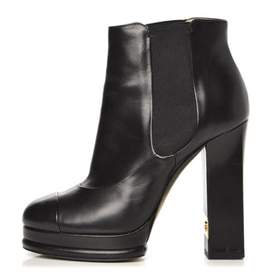 CHANEL | Cap-Toe-Ankle Boots-Booties Heels