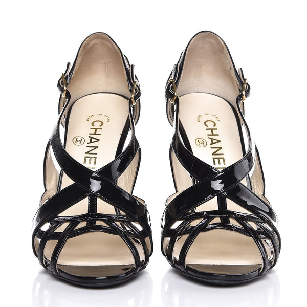 CHANEL | Patent CC Cage Sandals
