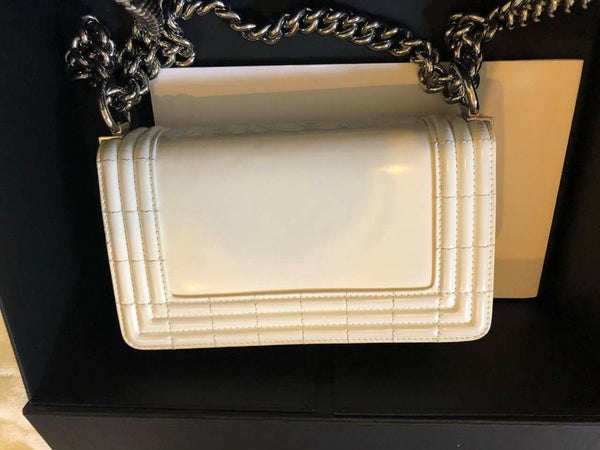 CHANEL | Boy Small White Was Patent Silver Hardware