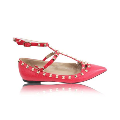 VALENTINO | 38 Rockstud Caged Flat In Fragola