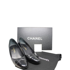 CHANEL | Low Black Leather Heels