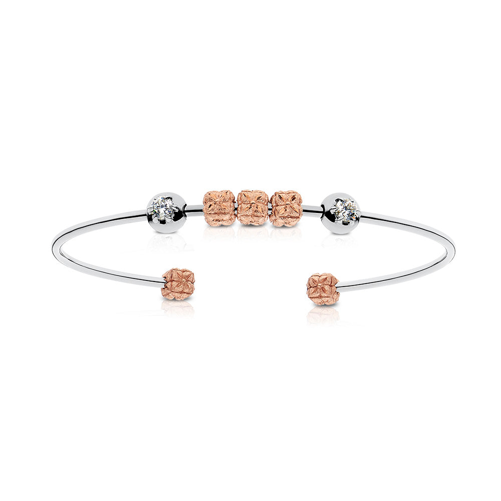Florette Diamond Cuff Bracelet in 18K White & Rose Gold