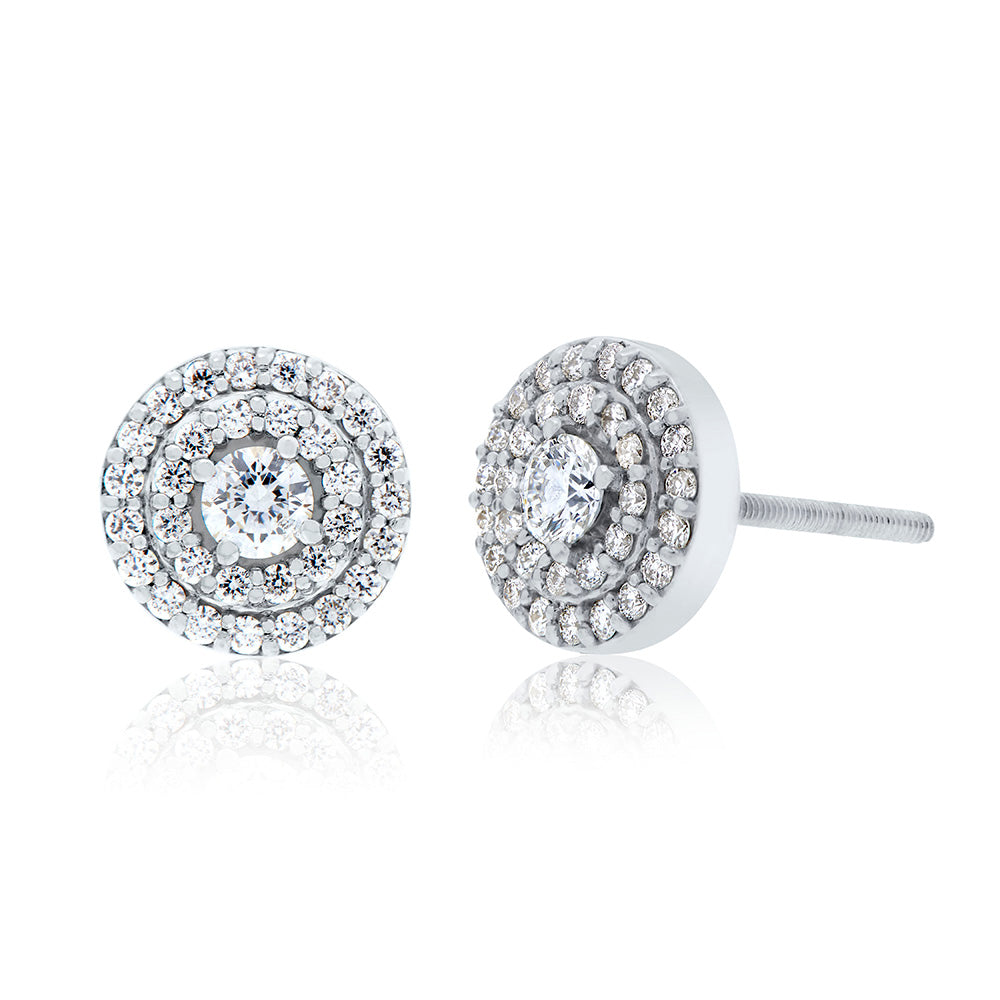 Splendeur Diamond Double Halo Stud Earrings in 18K Gold