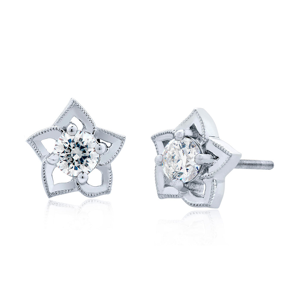Etoile Diamond Open Stud Earrings in 18K Gold