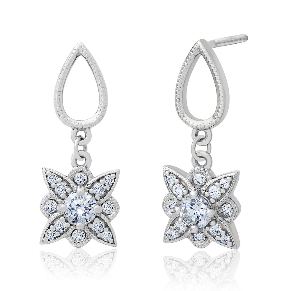 Etoile Diamond Dangle Stud Earrings in 18K Gold