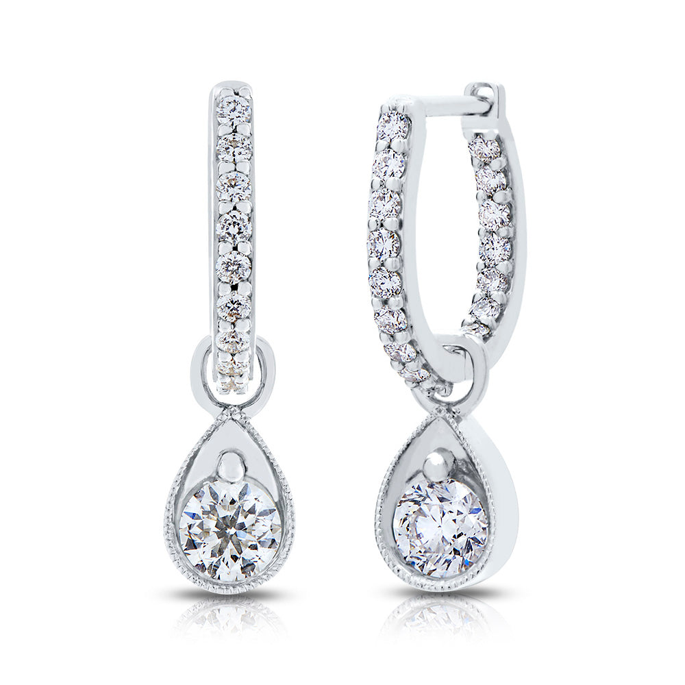 Lys Diamond Hoop Dangle Earrings in 18K Gold