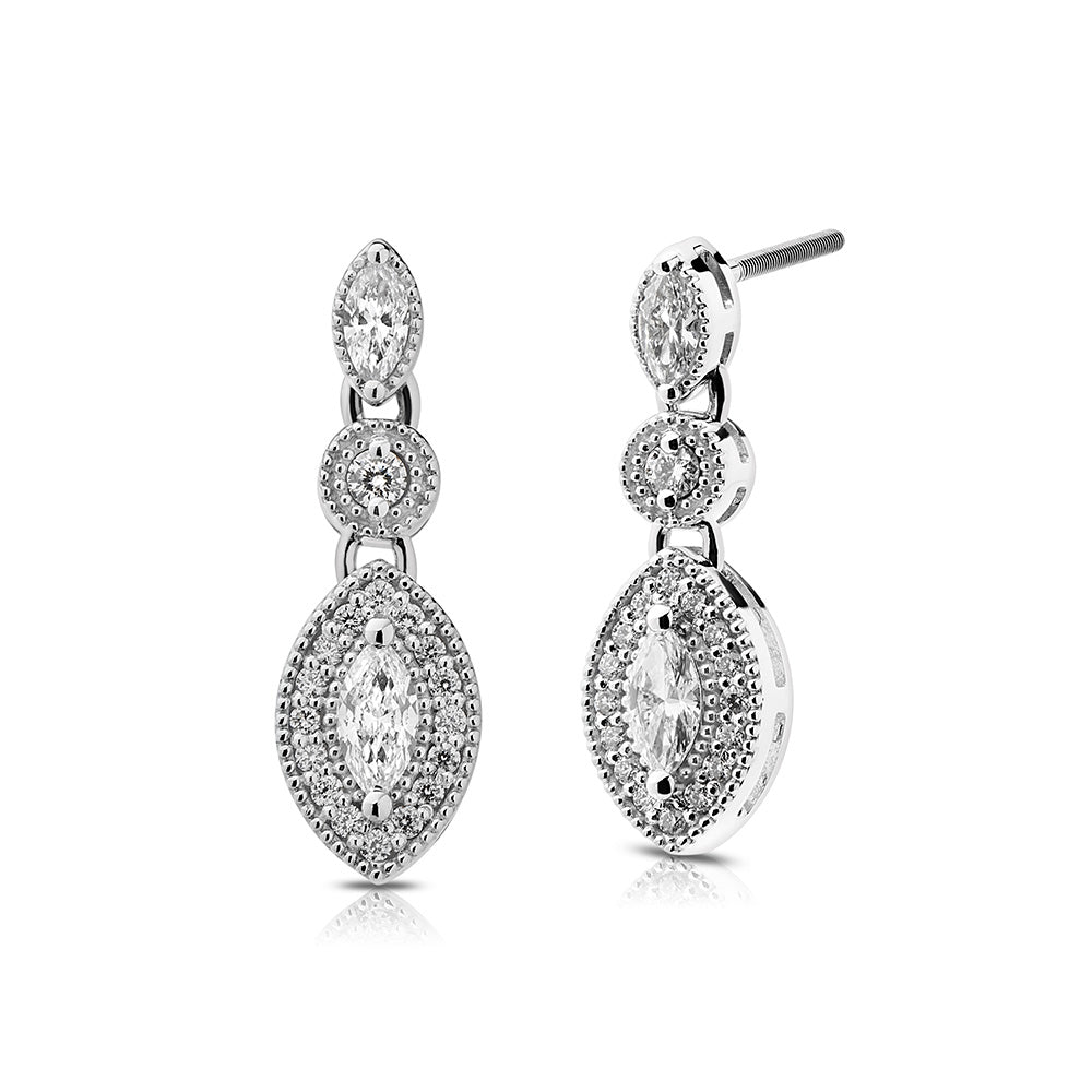 Pas de Trois Diamond Drop Earrings in 18K Gold