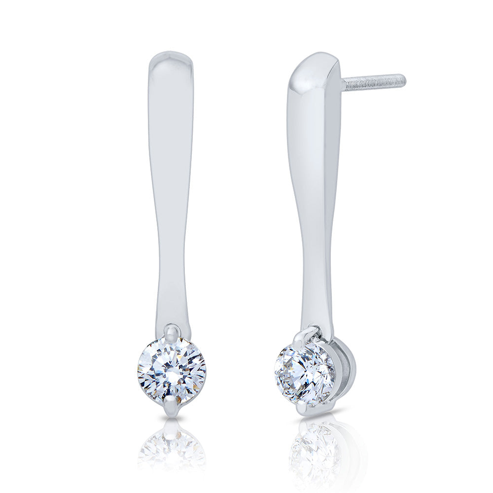Lys Diamond Drop Stud Earrings in 18K White Gold