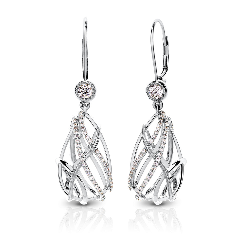 Tendance Diamond Caged Teardrop Drop Earrings in 18K Gold