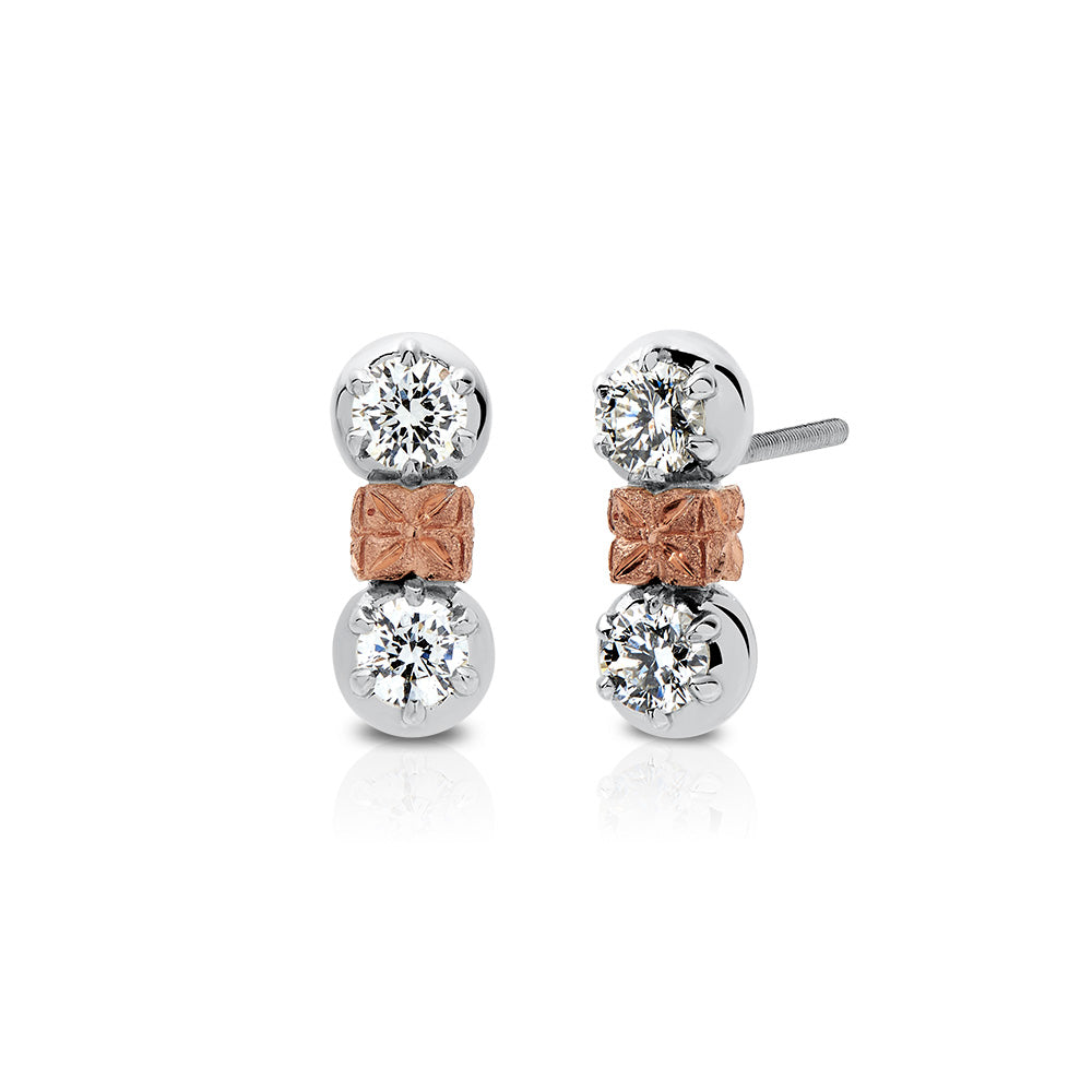 Florette Diamond Drop Stud Earrings in 18K White & Rose Gold