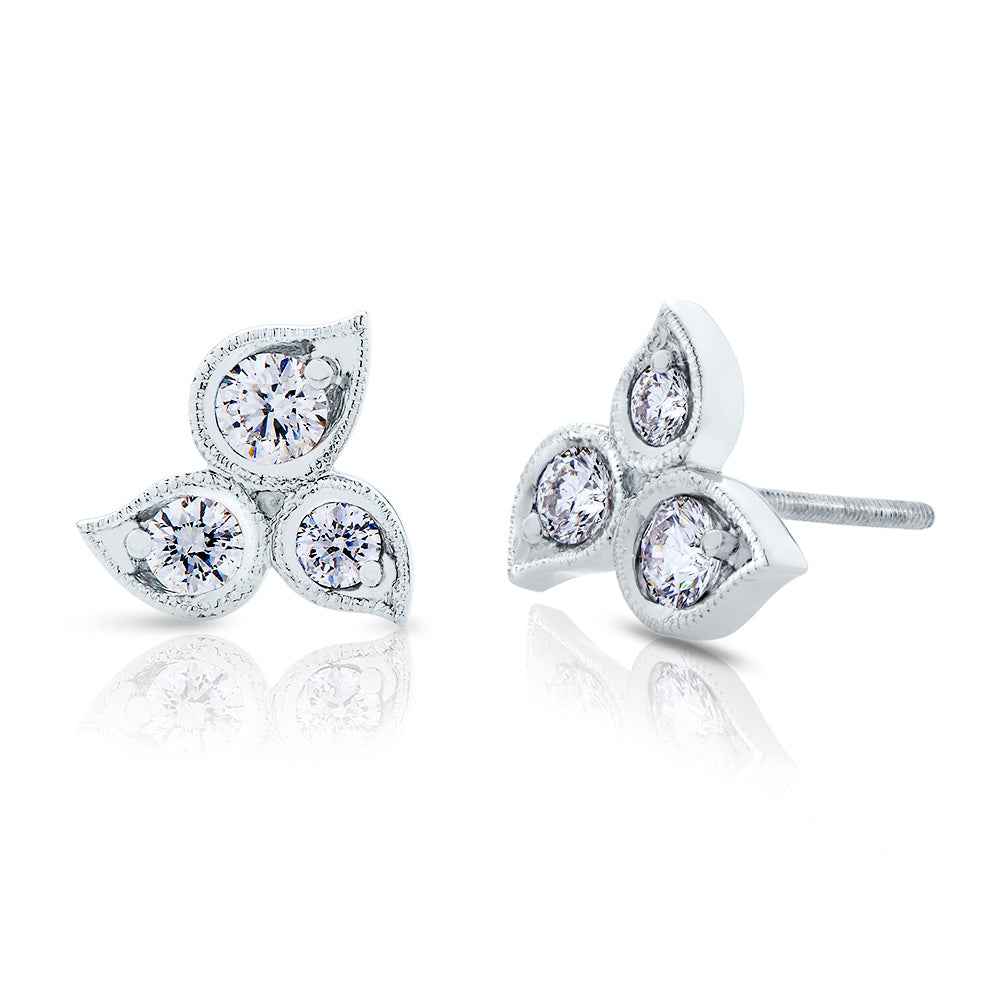 Lys Diamond Stud Earrings in 18K Gold