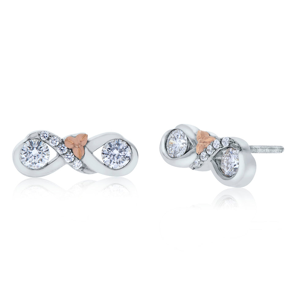 Love & Cherish Diamond Stud Earrings in 18K White & Rose Gold