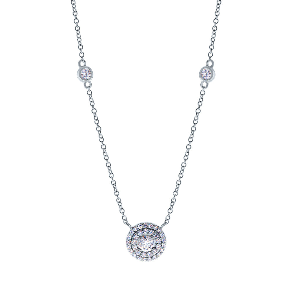 Splendeur Diamond Double Halo Pendant Necklace in 18K Gold
