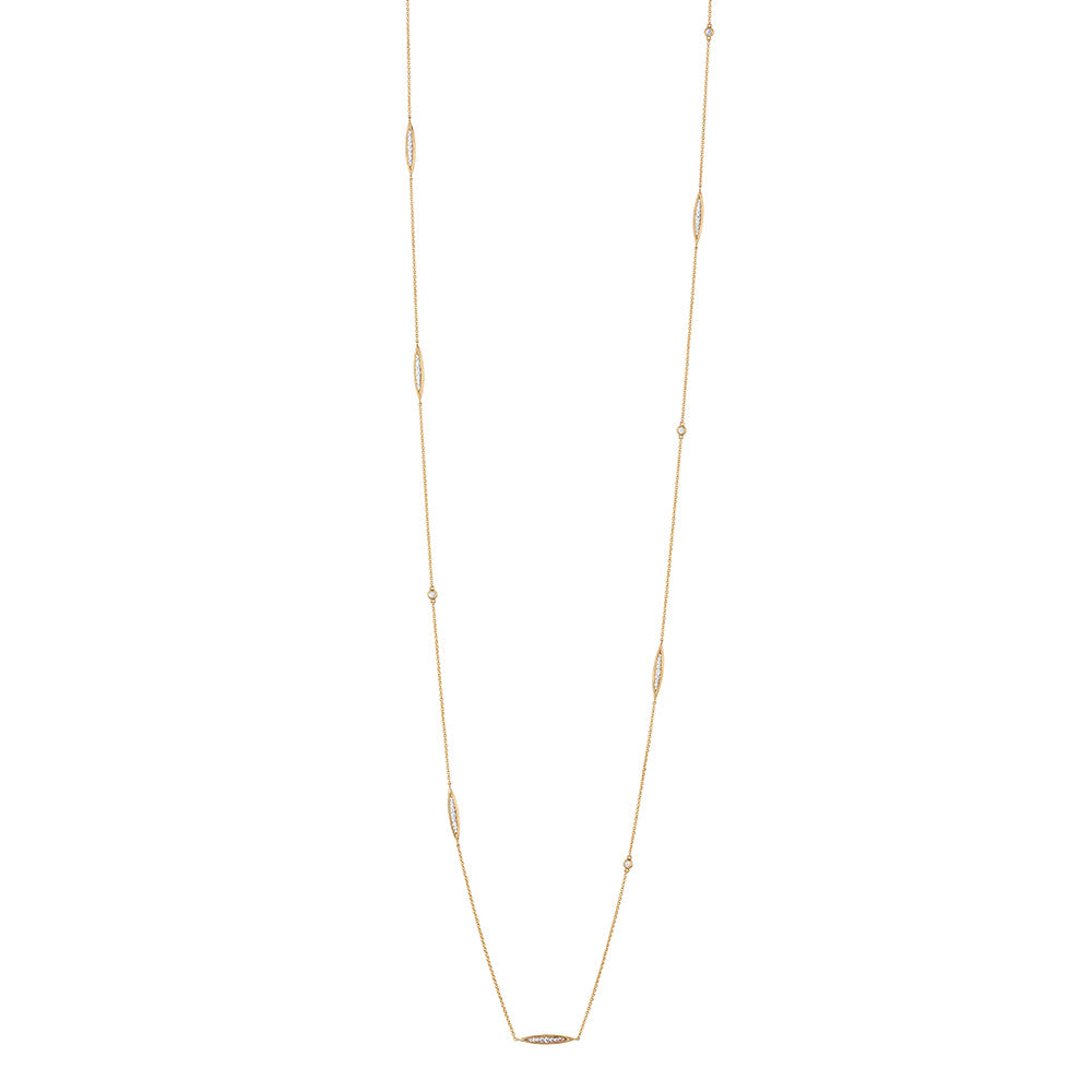 Pas de Trois Multi-Station Diamond Necklace in 18K Gold