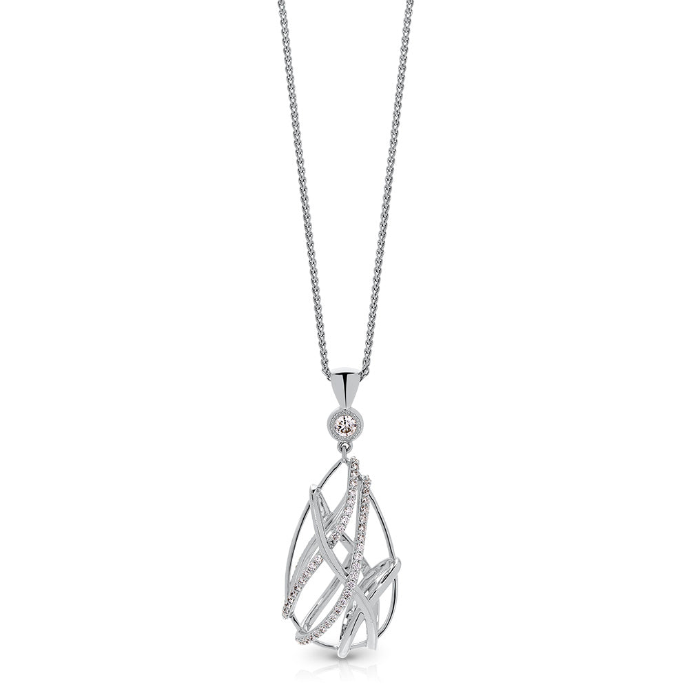 Tendance Diamond Caged Teardrop Pendant in 18K Gold
