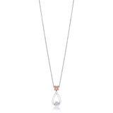 Florette Diamond Drop Pendant Necklace in 18K White & Rose Gold