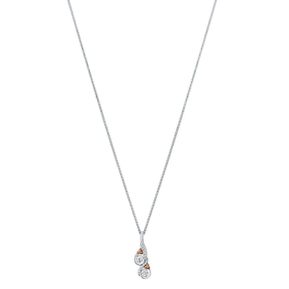 Love & Cherish Diamond Pendant Necklace in 18K White & Rose Gold