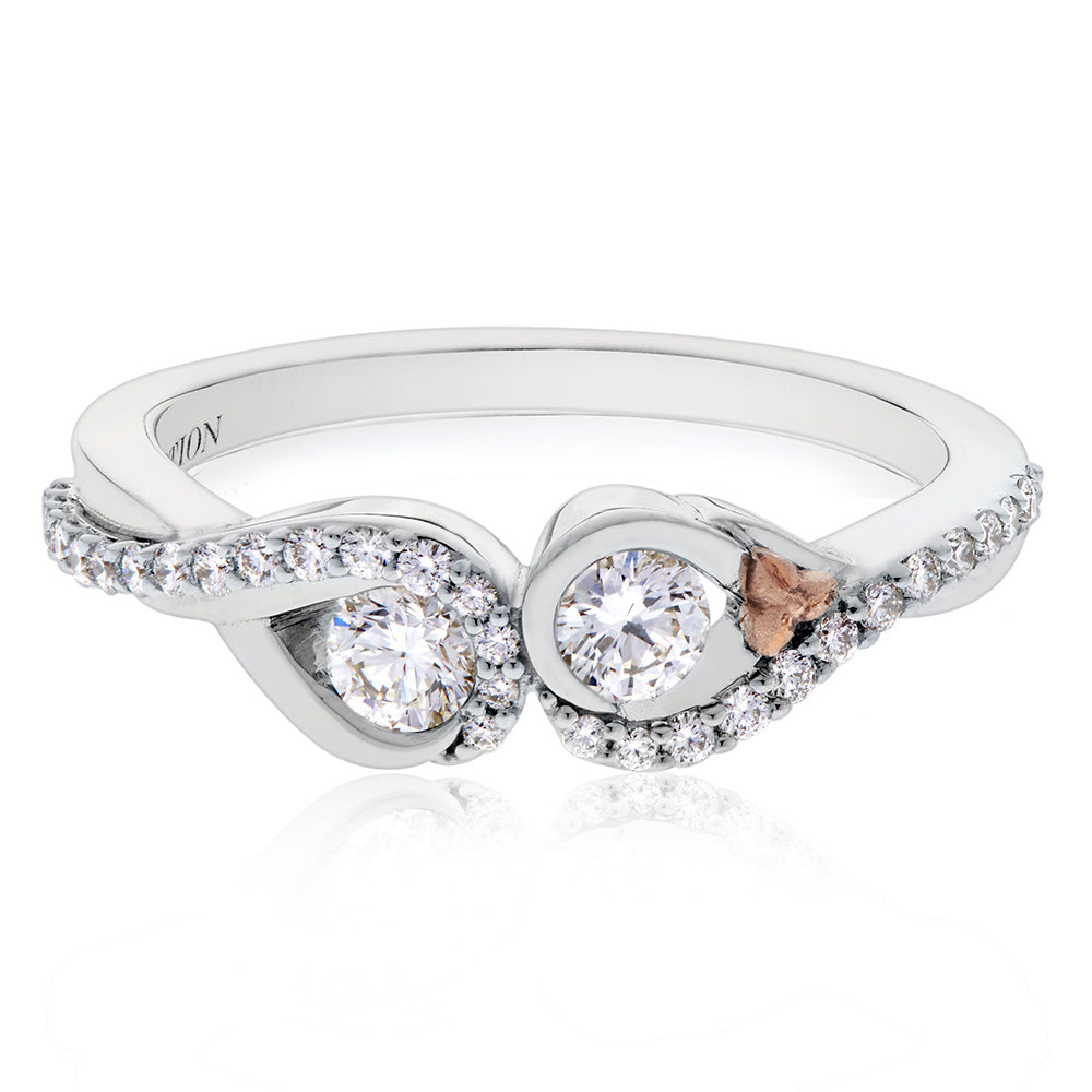 Love & Cherish Diamond Ring  in 18K White & Rose Gold