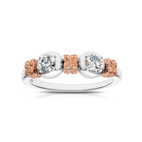 Florette Diamond Ring in 18K White & Rose Gold