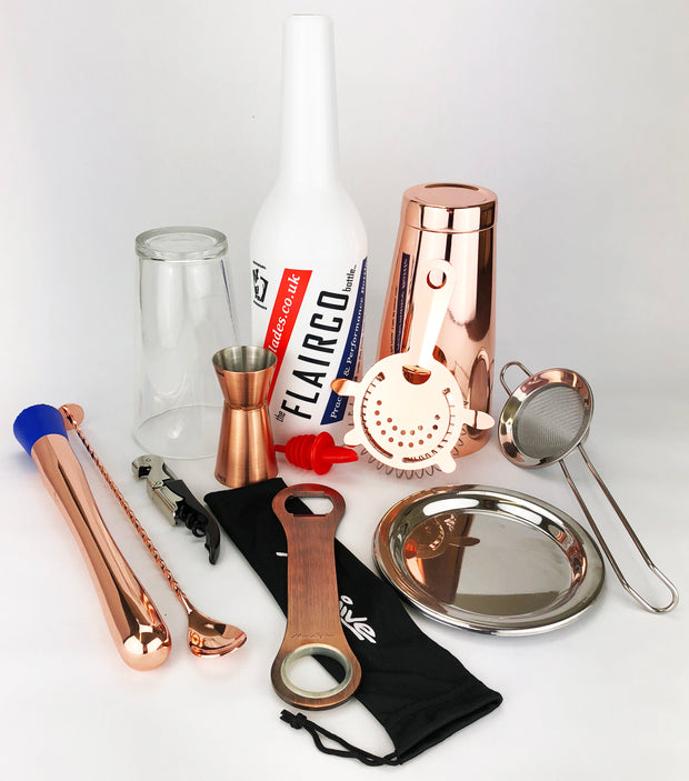 11 Piece Copper Cocktail Kit Tin on Glass - Bar Blades
