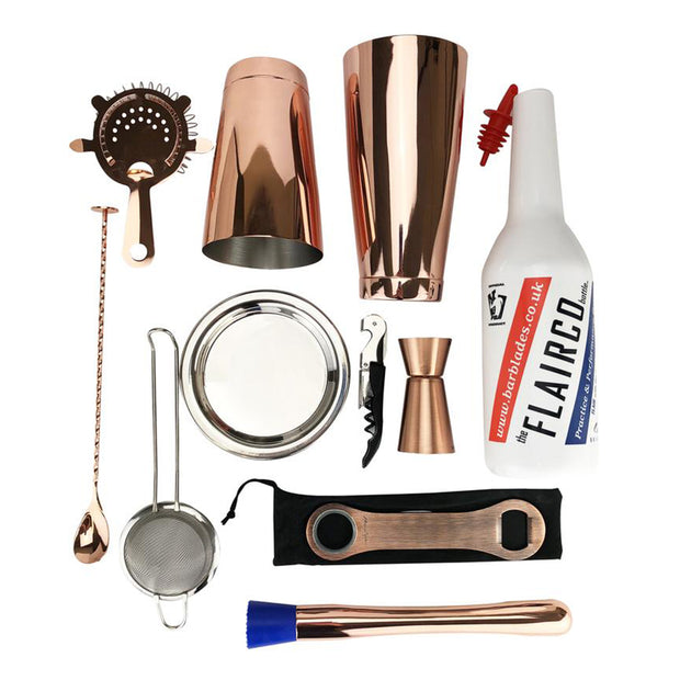 11 Piece Copper Cocktail Kit, Tin on Tin - Bar Blades