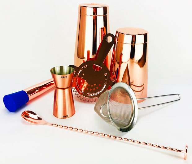 7 Piece Copper Cocktail Set, Tin 28oz & 18oz, 2 Strainers, Spoon, Muddler and Jigger - Bar Blades