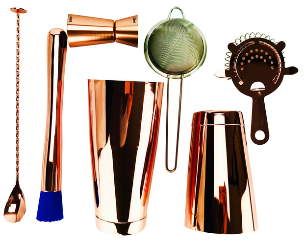 7 Piece Copper Cocktail Set