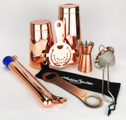 8 Piece Cocktail Making Kit in Copper, Tin on Glass - Bar Blades