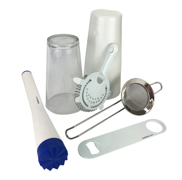 6 Piece White Cocktail Set, 28oz Cocktail Shaker Tin & 16oz Glass, Muddler, 4 Prong Strainer, Fine Strainer & Bar blade - Bar Blades