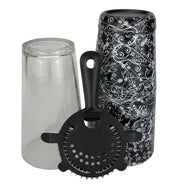 28oz Flower Pattern Boston Tin, Glass & Strainer - Bar Blades