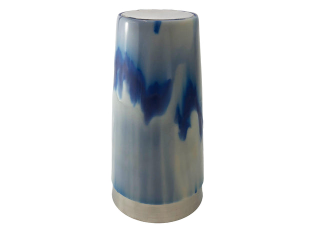 Vinyl Blue & White Swirl Boston Shaker Tin