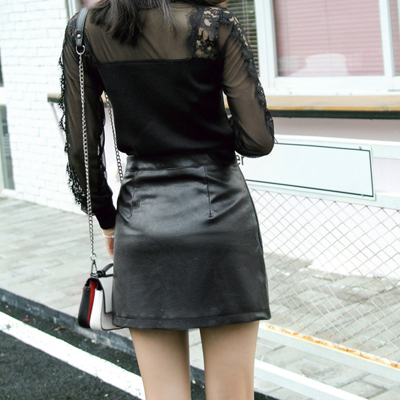 Black Skirt Zipper Details