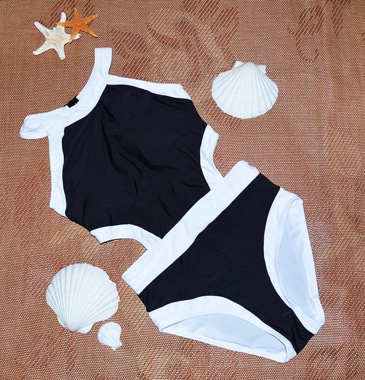 One Piece Balck and White Plus Swimwear