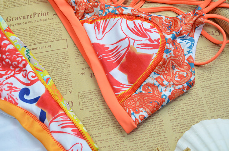 Sexy Flower Print Orange Bikini