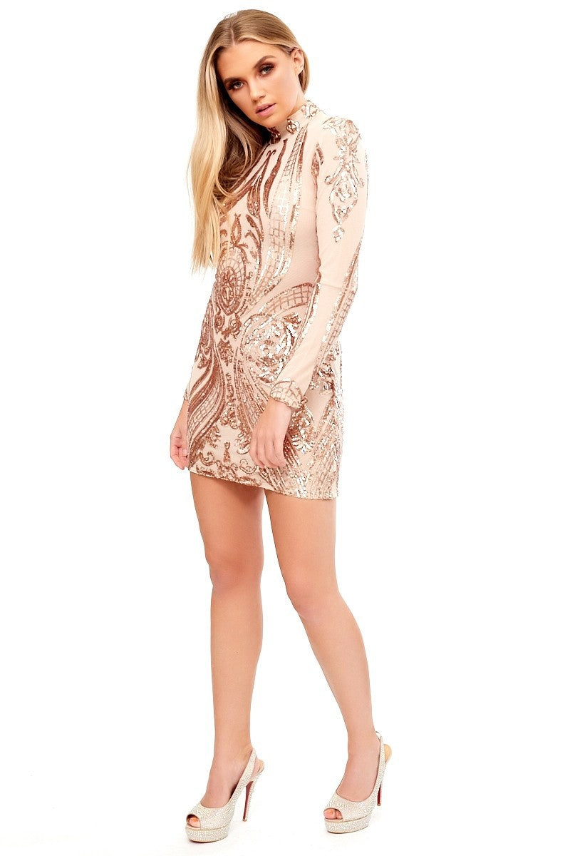 Sequins Mesh Stitching Long-sleeved Dress