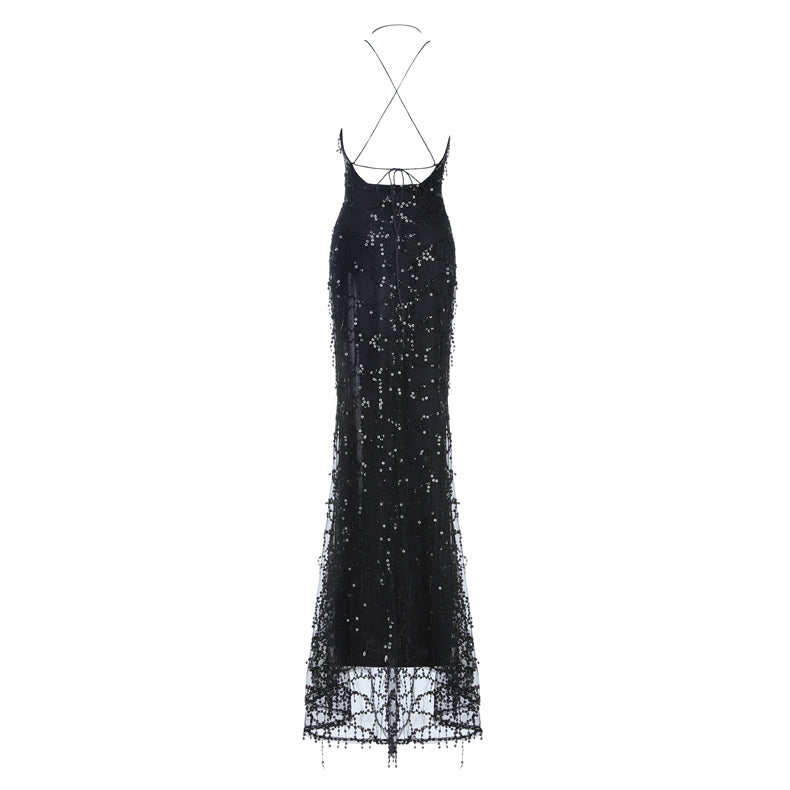 Twist Front High Slit Sequin Maxi Dress
