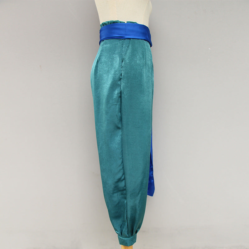 V-neck Shirt Wild High Waist Tie Pants