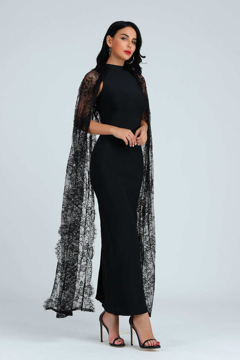 Lace Bandage Dress Sexy Batwing Sleeve