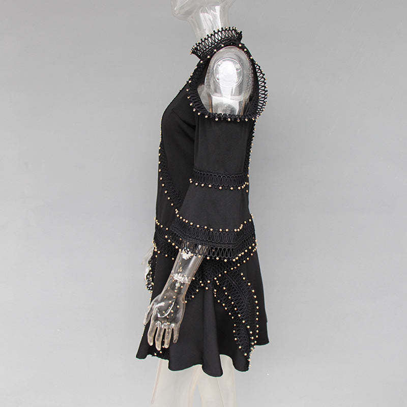 Trumpet Sleeve Beaded Luxury Dress Female