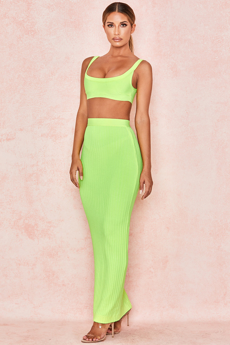 Strapless Crop Top Bodycon Skirt 2 pieces