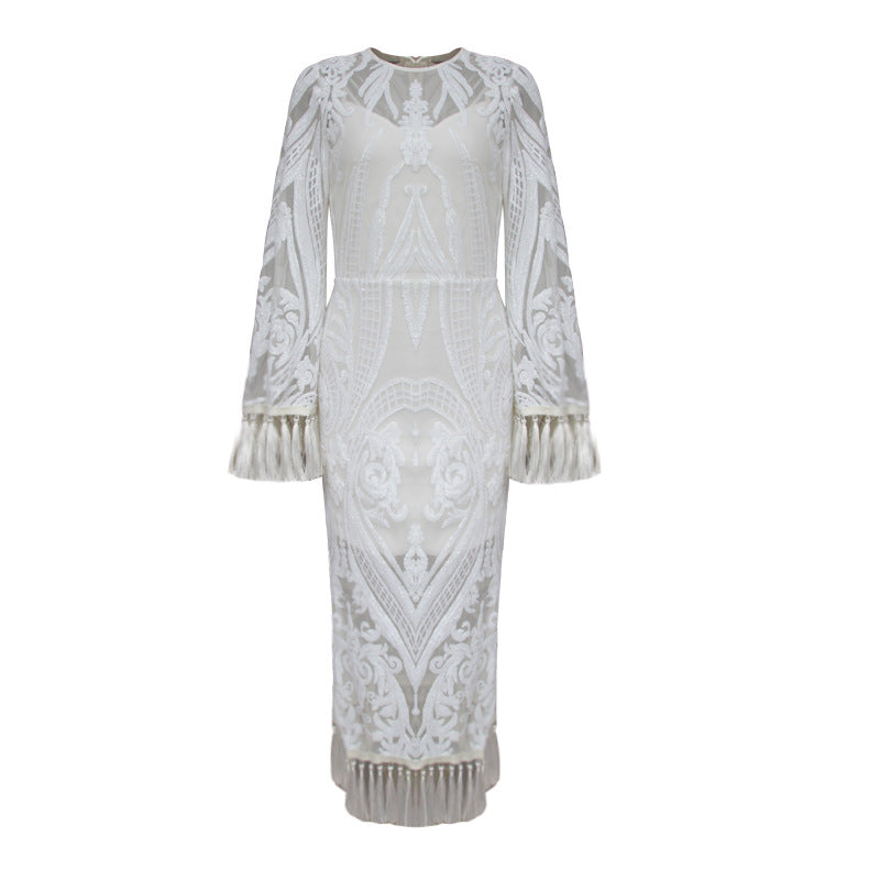 Embroidery Side Slits Fringe Women's Dress