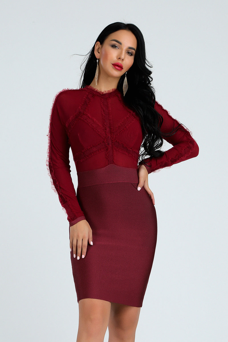 Long sleeves bandage Knee Length dress