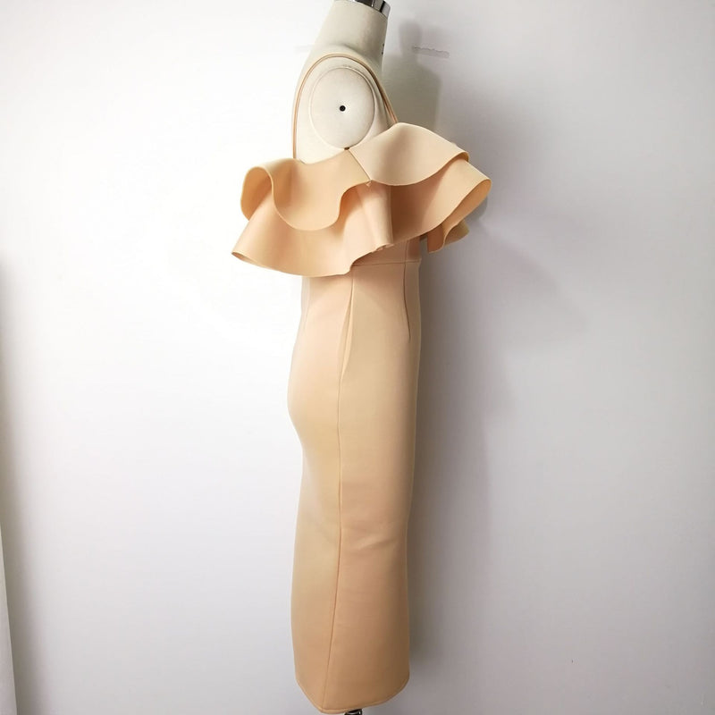 New Slim Ruffled Wrapped Chest Strap Dress